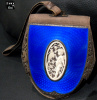 Antique Elephant Hide, Ivory and Guilloche Enamel Handbag
