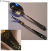 Woodlily Sterling Silverware Serving Pieces (2) Spoon and Cold Meat Fork