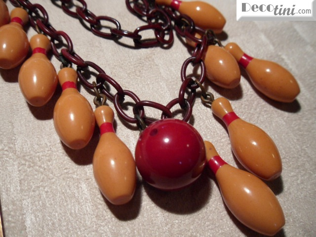 Bakelite Bowling Ball & Pin Necklace.