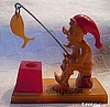 SOLD Bakelite Folk Art Gnome Fishing