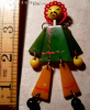 Figural Chinese Man Jointed Bakelite Pin 1940s. Chinoiserie